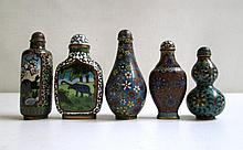FIVE CHINESE CLOISONNE SNUFF BOTTLES