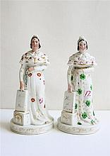 PAIR OF FRENCH CERAMIC FIGURINES, each of a