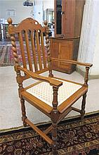 A SET OF SIX OAK DINING CHAIRS, English style,