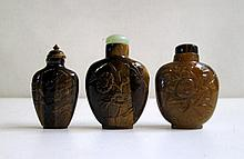 THREE CHINESE TIGER EYE SNUFF BOTTLES, two having