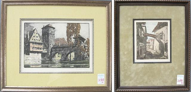 TWO ETCHINGS: RUDOLF VEIT ETCHING AND AQUATINT