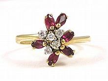 RUBY, DIAMOND AND FOURTEEN KARAT GOLD RING, set