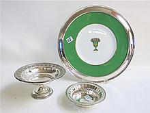 STERLING SILVER RIMMED PLATTER AND HOLLOWWARE,