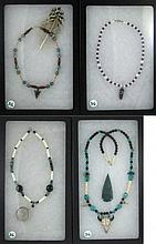 FOUR BEADED NECKLACES featuring turquoise, bone,