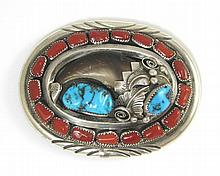 SOUTHWEST STERLING SILVER BELT BUCKLE inset with