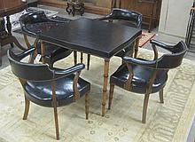 A CARD TABLE AND CLUB CHAIR SET, comprising square