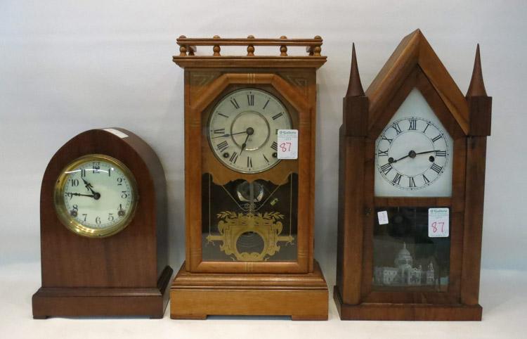 THREE AMERICAN CLOCKS including: Seth Thomas city