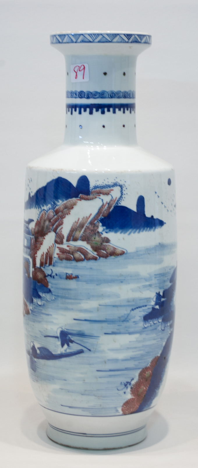 CHINESE PORCELAIN VASE, rouleau form, hand painted