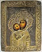 MOTHER OF GOD ICON WITH BRASS RIZA, late