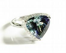 MULTI-COLOR TANZANITE AND DIAMOND RING, 14k white