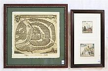 THREE RUSSIAN ETCHINGS: large map of Moscow, paper