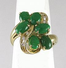 MASON KAY JADE AND FOURTEEN KARAT GOLD RING, with