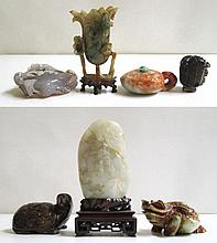 SEVEN PIECES OF CHINESE CARVED JADE AND STONE