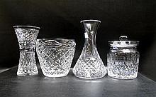 FOUR WATERFORD CUT CRYSTAL TABLEWARE, 1 lidded