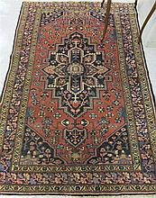 SEMI-ANTIQUE PERSIAN AREA RUG, central geometric