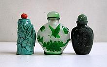 THREE CHINESE SNUFF BOTTLES, the first of Peking