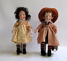 R. JOHN WRIGHT FELT DOLLS, 2 pieces from the