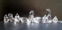 EIGHT STEUBEN CRYSTAL FIGURINES