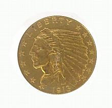 U.S. TWO AND ONE-HALF DOLLAR GOLD COIN, Indian