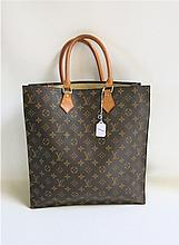 LOUIS VUITTON MONOGRAM CANVAS SAC PLAT TOTE BAG,