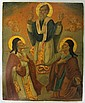 GREEK ICON HAND PAINTED ON PANEL, three figures,