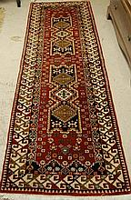 HAND KNOTTED ORIENTAL SHORT RUNNER, double