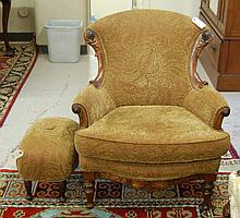 A VICTORIAN ARMCHAIR AND FOOTSTOOL, American, c.