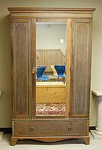 AN EDWARDIAN INLAID WALNUT WARDROBE, English, c.