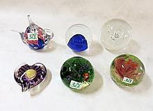 SIX ART GLASS PAPERWEIGHTS