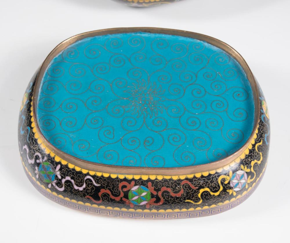 CHINESE OVAL CLOISONNE BOX, with colorful playing