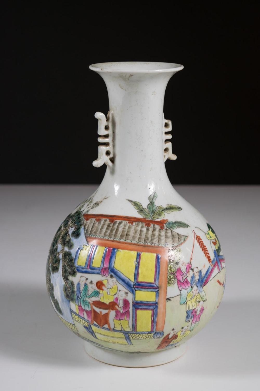 CHINESE FAMILLE ROSE PORCELAIN VASE, of bottle for