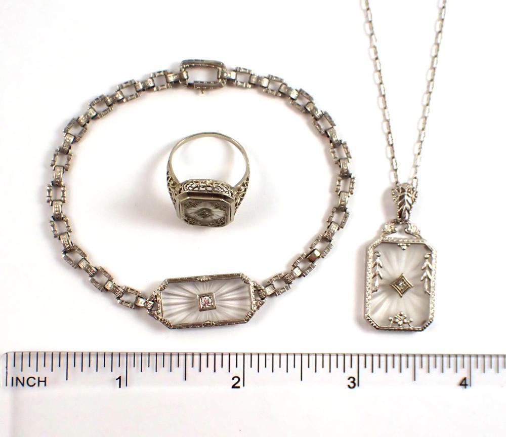 THREE ARTICLES OF DIAMOND AND FOURTEEN KARAT GOLD