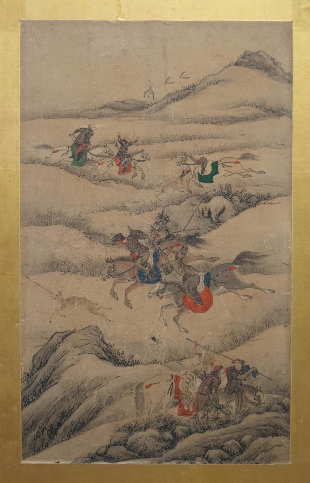 SIX-LEAF HUNTING PARTY PAINTED SCREEN, Korean, lat