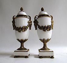 PAIR OF WHITE MARBLE GARNITURES