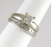 DIAMOND AND FOURTEEN KARAT WHITE GOLD WEDDING SET,