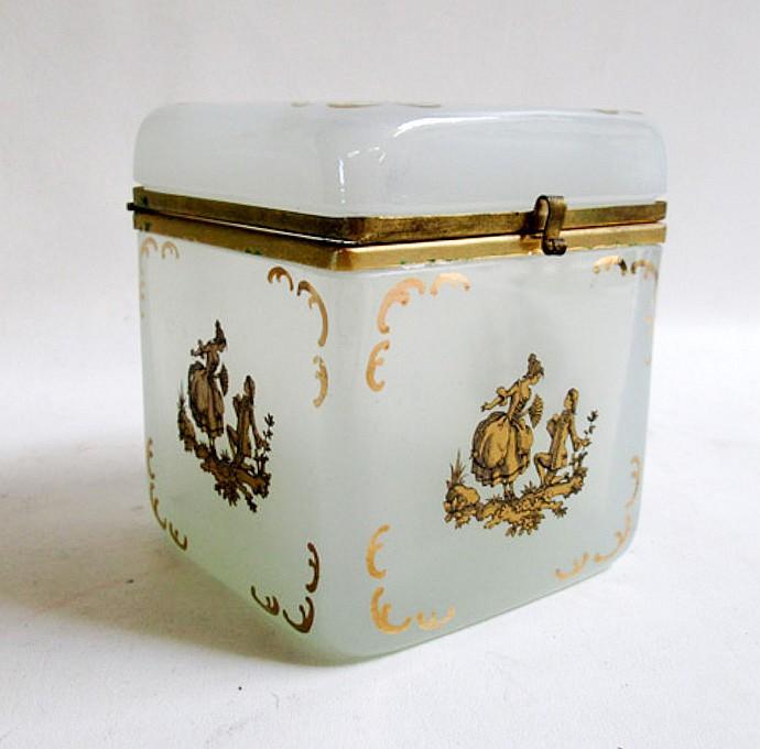 FRENCH OPAQUE GREY GLASS DRESSER BOX