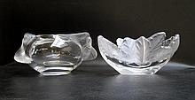 TWO LALIQUE CRYSTAL BOWLS
