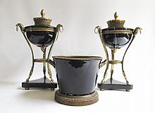 BLACK MARBLE AND ORMOLU MOUNTED GARNITURE SET