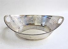 DUTCH SILVER BREAD BASKET, 19th century oval,