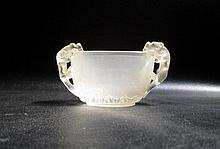 CHINESE CARVED ROCK CRYSTAL BOWL