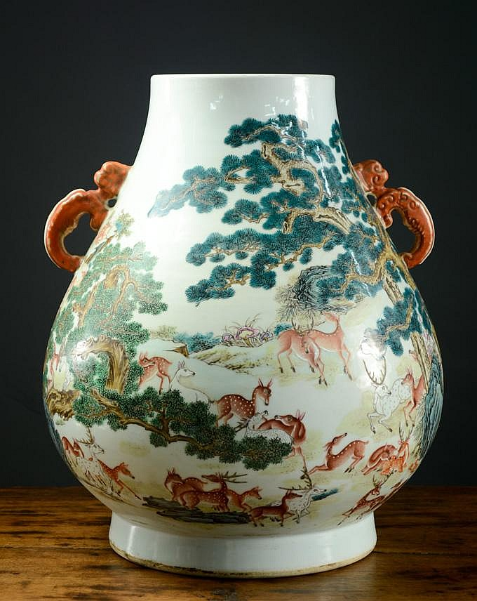 CHINESE PORCELAIN VASE, a Hu-shaped vessel with