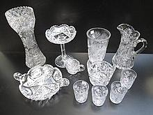 ELEVEN PIECES CUT CRYSTAL TABLEWARE consisting of