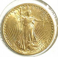 U.S. TWENTY DOLLAR GOLD COIN, St. Gaudens type,