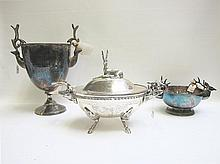 THREE SILVER HOLLOWWARE PIECES: 1 silver plated