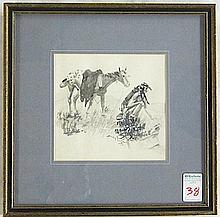 SANDY INGERSOLL INK WASH ON PAPER (Montana,