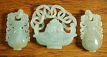 LIGHT GREEN CARVED JADE BASKET WITH TWO URNS,