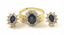 THREE ARTICLES OF SAPPHIRE AND DIAMOND JEWELRY,