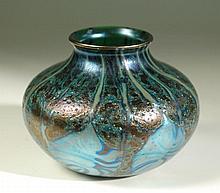 DANIEL LOTTON ART GLASS VASE, having iridescent