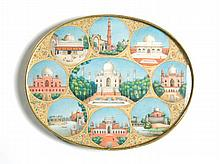 HAND PAINTED INDIAN OVAL GOLD FRAMED ORNAMENTAL