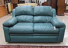 TEAL LEATHER LOVESEAT by Oakland Furniture